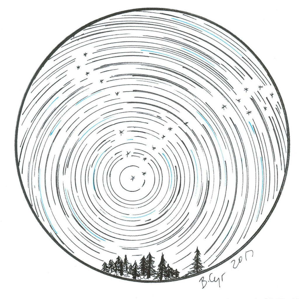 Star trails - Pisces over tiny trees - Original Drawing - Beth Cyr Handmade Jewelry