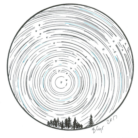 Star trails - Pisces over tiny trees - Original Drawing
