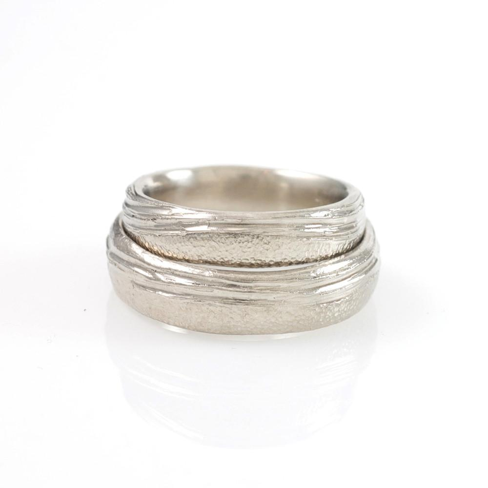 Sea and Sand Wedding Rings in Palladium/Silver - Made to order - Beth Cyr Handmade Jewelry