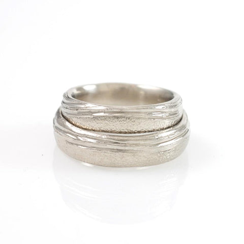 Sea and Sand Wedding Rings in 14k and 18k Palladium White Gold - Made to Order
