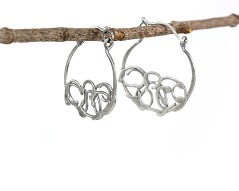 Small Organic Vine Hoops and Circle Earrings in Sterling Silver - Ready to Ship