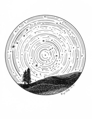 Star trails - Tree Buddies with Orion - Pen and Ink Drawing Print - Beth Cyr Handmade Jewelry