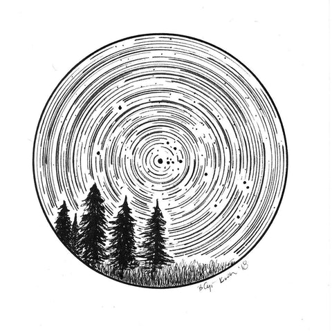 Taurus Constellation Star Trail Drawing #3 - Pen and Ink Drawing Print - Beth Cyr Handmade Jewelry