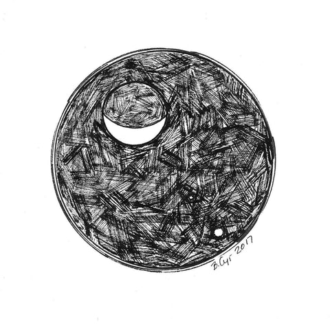 Original Drawing - Dark Sky - The Moon, Venus and Mars #2 - Beth Cyr Handmade Jewelry