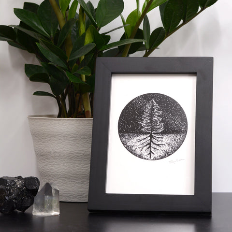 Above and Below - Magical Tree, Roots, and Stars - Pen and Ink Drawing Print - Beth Cyr Handmade Jewelry