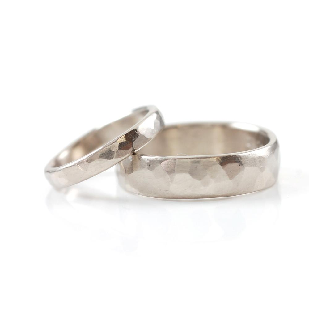 Simple Hammered Wedding Rings in PalladiumSilver Made to Order