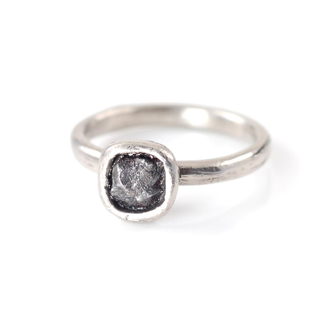 Single Meteorite Ring in Palladium/Silver - size 5 1/4 - Ready to Ship - Beth Cyr Handmade Jewelry