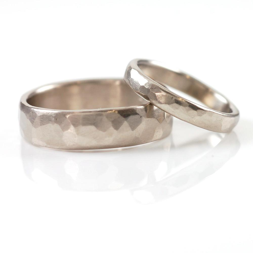 Simple Hammered Wedding Rings in Palladium/Silver - Made to Order - Beth Cyr Handmade Jewelry