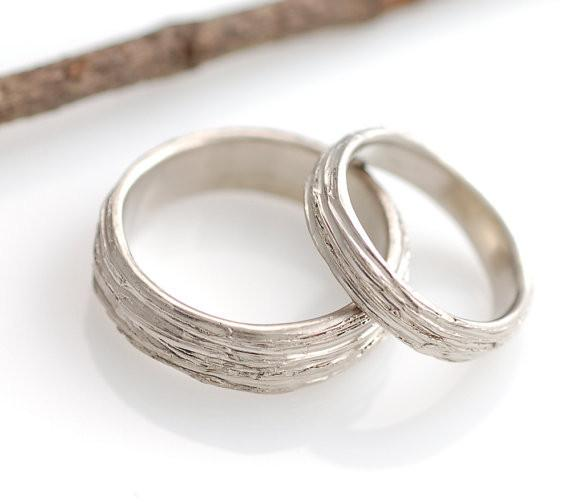 Tree Bark Wedding Rings in Palladium/Silver - Made to Order - Beth Cyr Handmade Jewelry