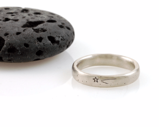Wish Upon a Star Wedding Rings in Palladium/Silver - Made to order