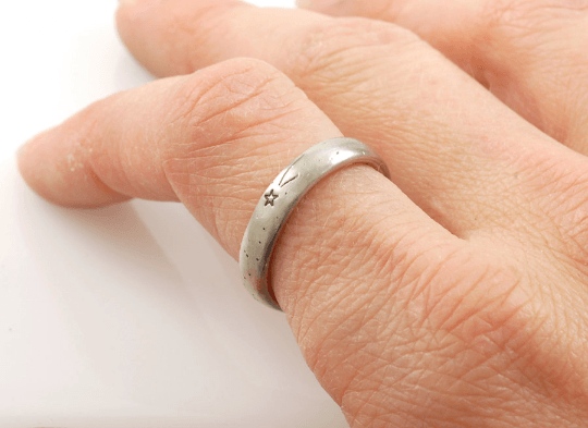 Wish Upon a Star Wedding Rings in Palladium/Silver - Made to order - Beth Cyr Handmade Jewelry