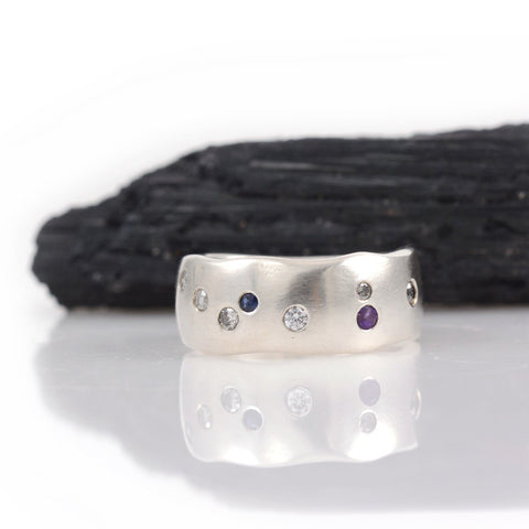 Simplicity Ring with Scattered Diamonds, Sapphire and Amethyst - size 6 - Ready to Ship - Beth Cyr Handmade Jewelry