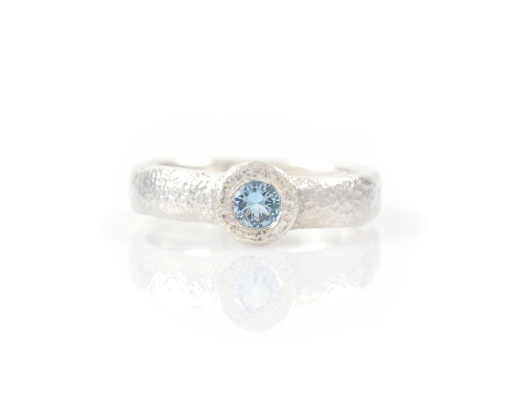 Sands of Time Engagement Ring with Aquamarine in Palladium Sterling Silver - 6.75 - Ready to Ship