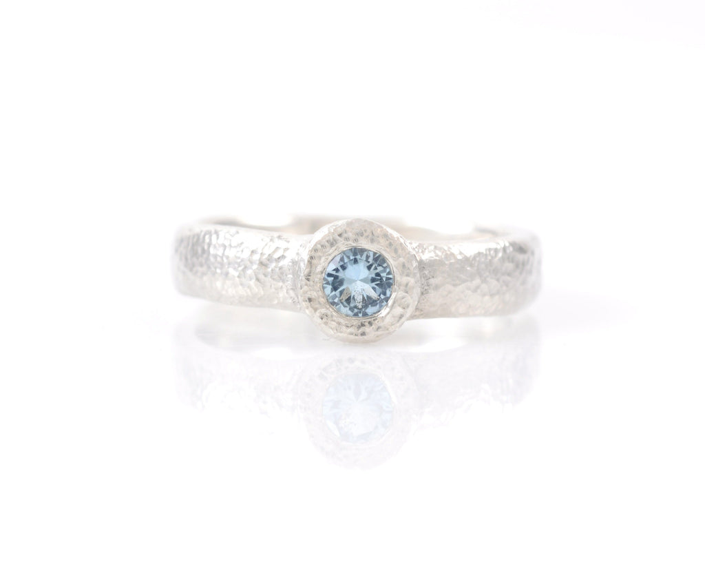 Sands of Time Engagement Ring with Aquamarine in Palladium Sterling Silver - 6.75 - Ready to Ship - Beth Cyr Handmade Jewelry