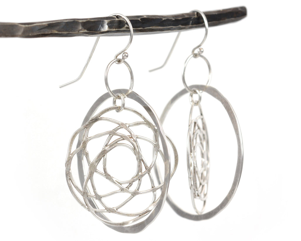 Atomic Organic Vine and Circle Earrings in Sterling Silver - Ready to Ship - Beth Cyr Handmade Jewelry