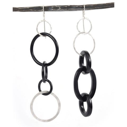 Black Agate and Sterling Silver Circle Earrings - Ready to Ship - Beth Cyr Handmade Jewelry