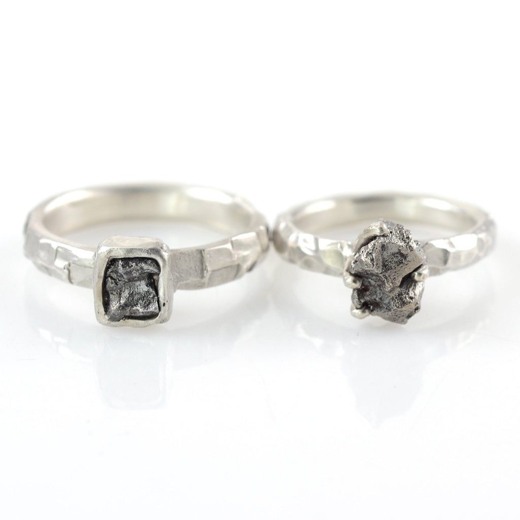 Meteorite Ring with Carved Band and Prong Setting in Palladium Sterling Silver - size 5 - Ready to Ship