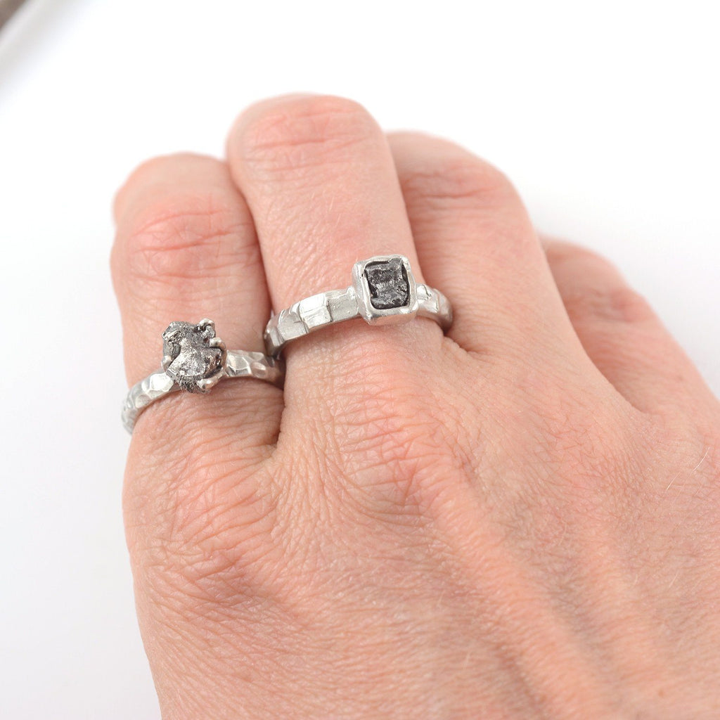 Meteorite Ring with Carved Band and Prong Setting in Palladium Sterling Silver - size 5 - Ready to Ship - Beth Cyr Handmade Jewelry