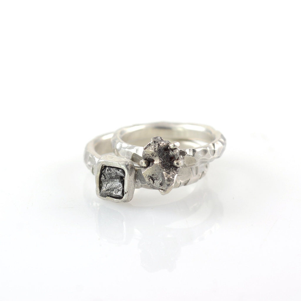 Meteorite Ring with Geometric Carved Band in Palladium Sterling Silver - size 7 1/4 - Ready to Ship