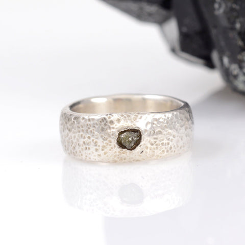 Tiny Hammered Dimpled Band with Rough Diamond in Palladium Sterling Silver - size 5.5 - Ready to Ship