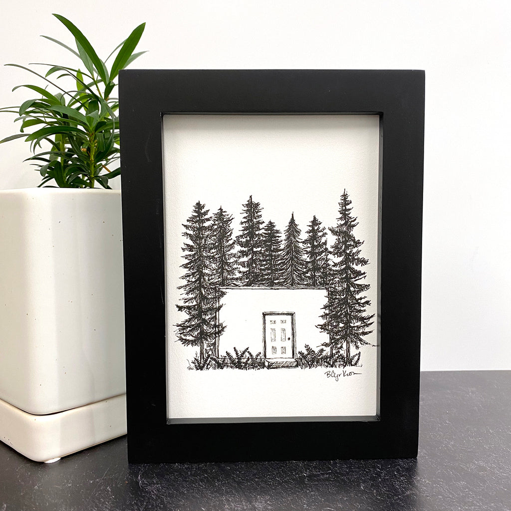 "A door in a wall in the woods - Original Drawing - 5"" x 7"""