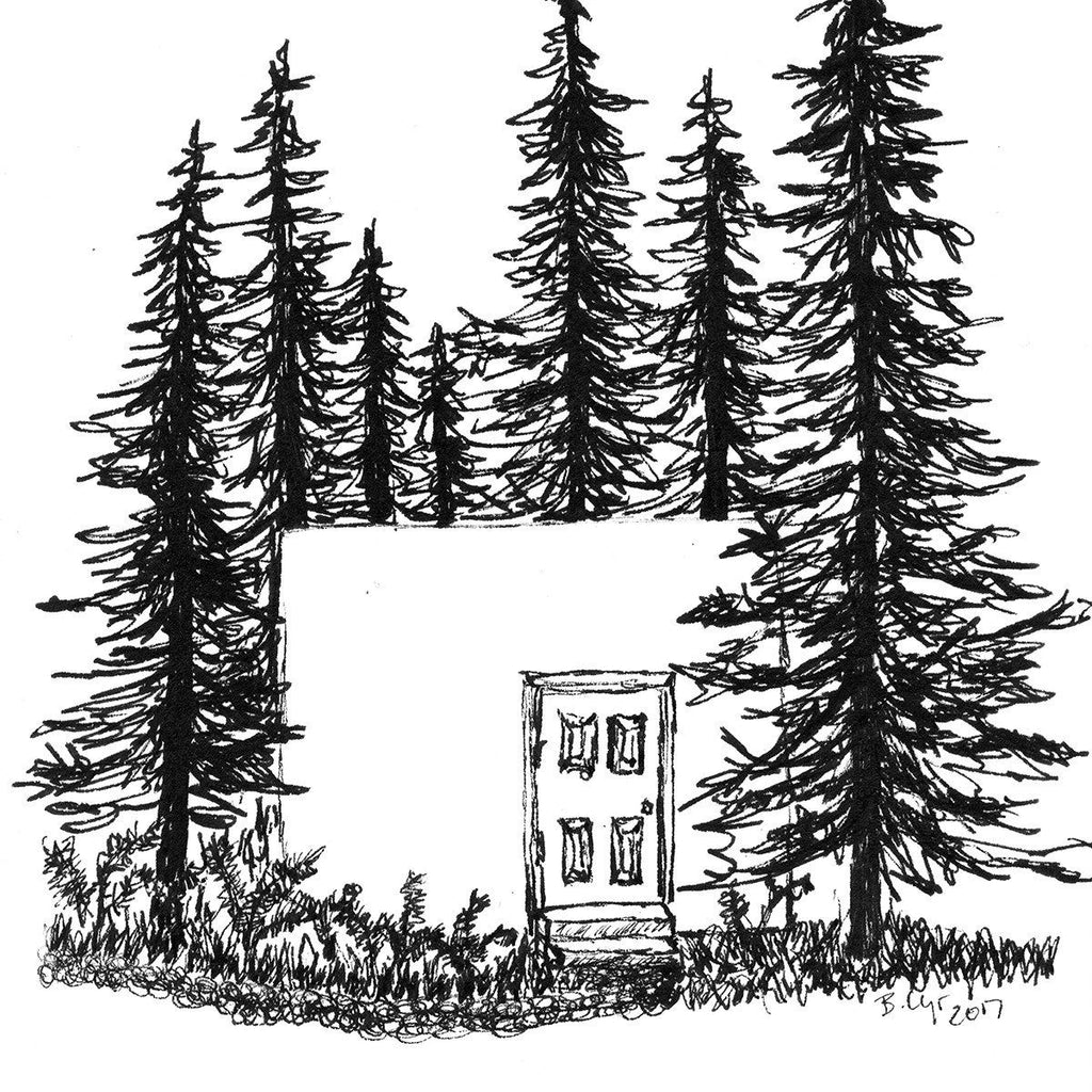 A door in a wall in the woods - Original Drawing