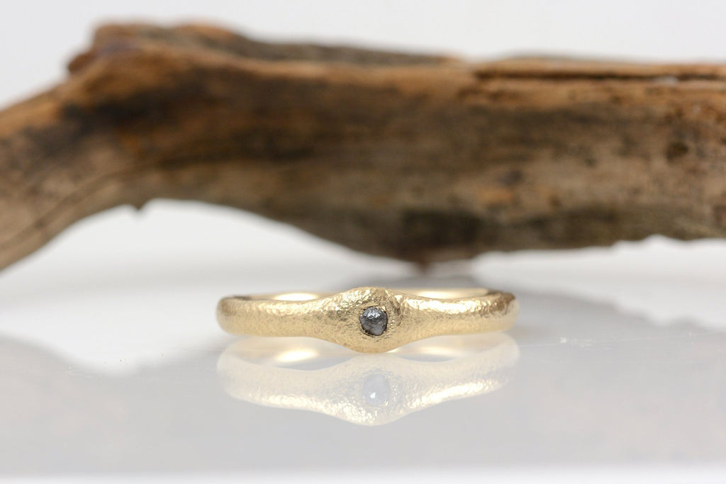 Reserved for Emma - Final payment - Custom Sands of Time Ring - Gray Rough Diamond in 14k Yellow Gold - Beth Cyr Handmade Jewelry
