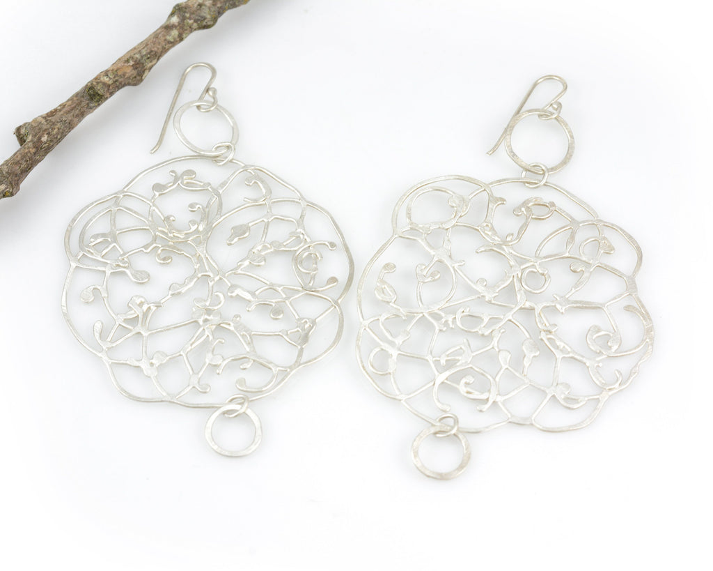 Extra LargeOrganic Vine Earrings with Little Circles #33 - Ready to Ship
