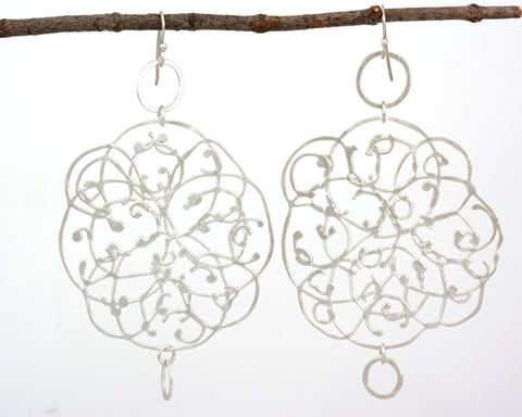 Extra LargeOrganic Vine Earrings with Little Circles #33 - Ready to Ship - Beth Cyr Handmade Jewelry