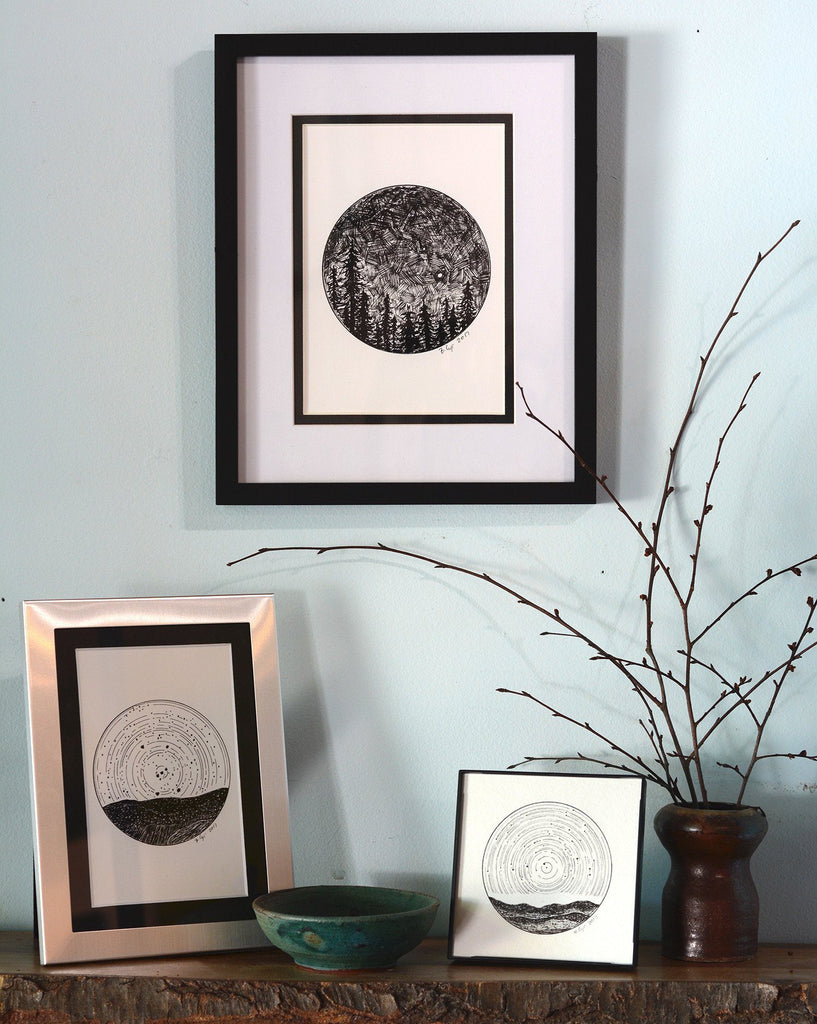 Dark Sky - Venus and Mars over the Trees - Pen and Ink Drawing Print - Beth Cyr Handmade Jewelry