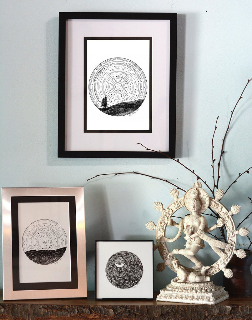 Dark Sky - Crescent Moon Over Trees - Pen and Ink Drawing Print - Beth Cyr Handmade Jewelry