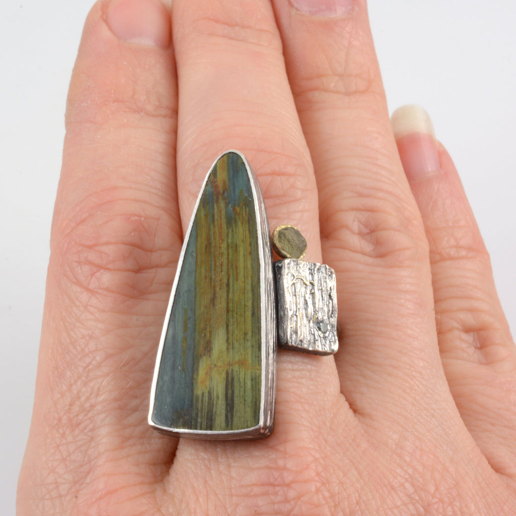 Gary Green Jasper/Petrified Bog Wood, Rough Sapphire, Diamond and Tree Bark Texture Ring in Sterling Silver - size 6 - Ready to Ship - Beth Cyr Handmade Jewelry