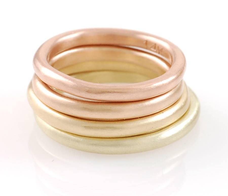 Love Rocks Hammered Wedding Rings in Rose Gold - Made to order - Beth Cyr Handmade Jewelry