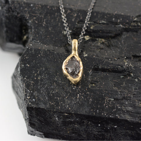 Meteorite Pendant in 14k Yellow Gold - Ready to Ship