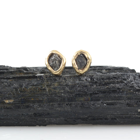 Meteorite Post Earrings in 14k Yellow Gold - Ready to ship