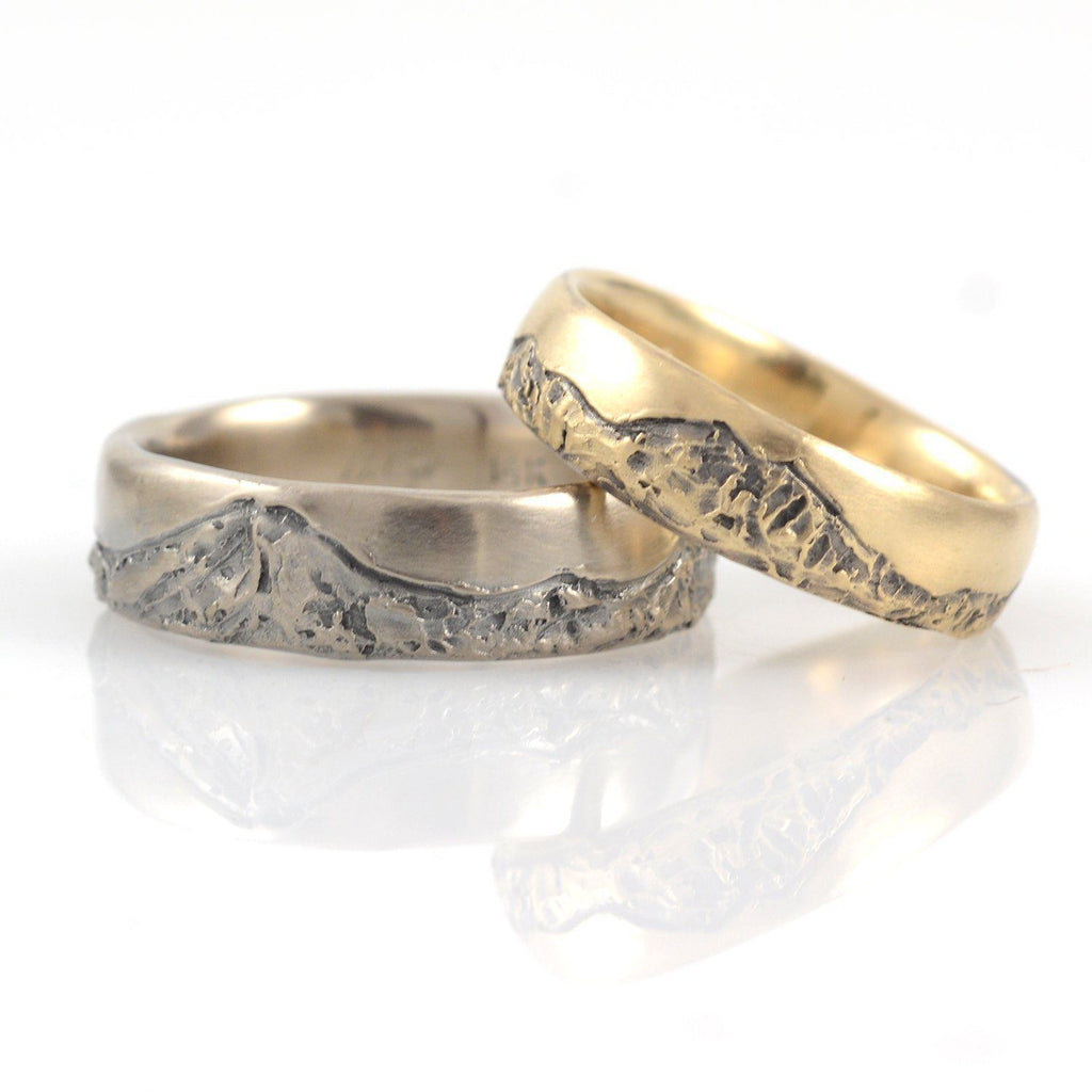 Final Payment Custom Mountain Wedding Rings in Yellow Gold for Shea - Beth Cyr Handmade Jewelry