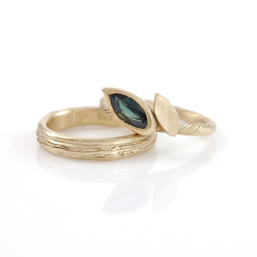 Vine and Leaf Engagement Ring with Green Sapphire - size 5 - Ready to Ship - Beth Cyr Handmade Jewelry
