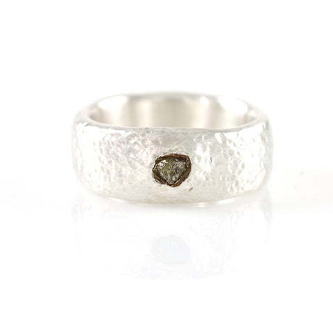 Hammered Engagement Ring with Rough Diamond in Palladium Sterling Silver - size 5 3/4 - Ready to Ship - Beth Cyr Handmade Jewelry