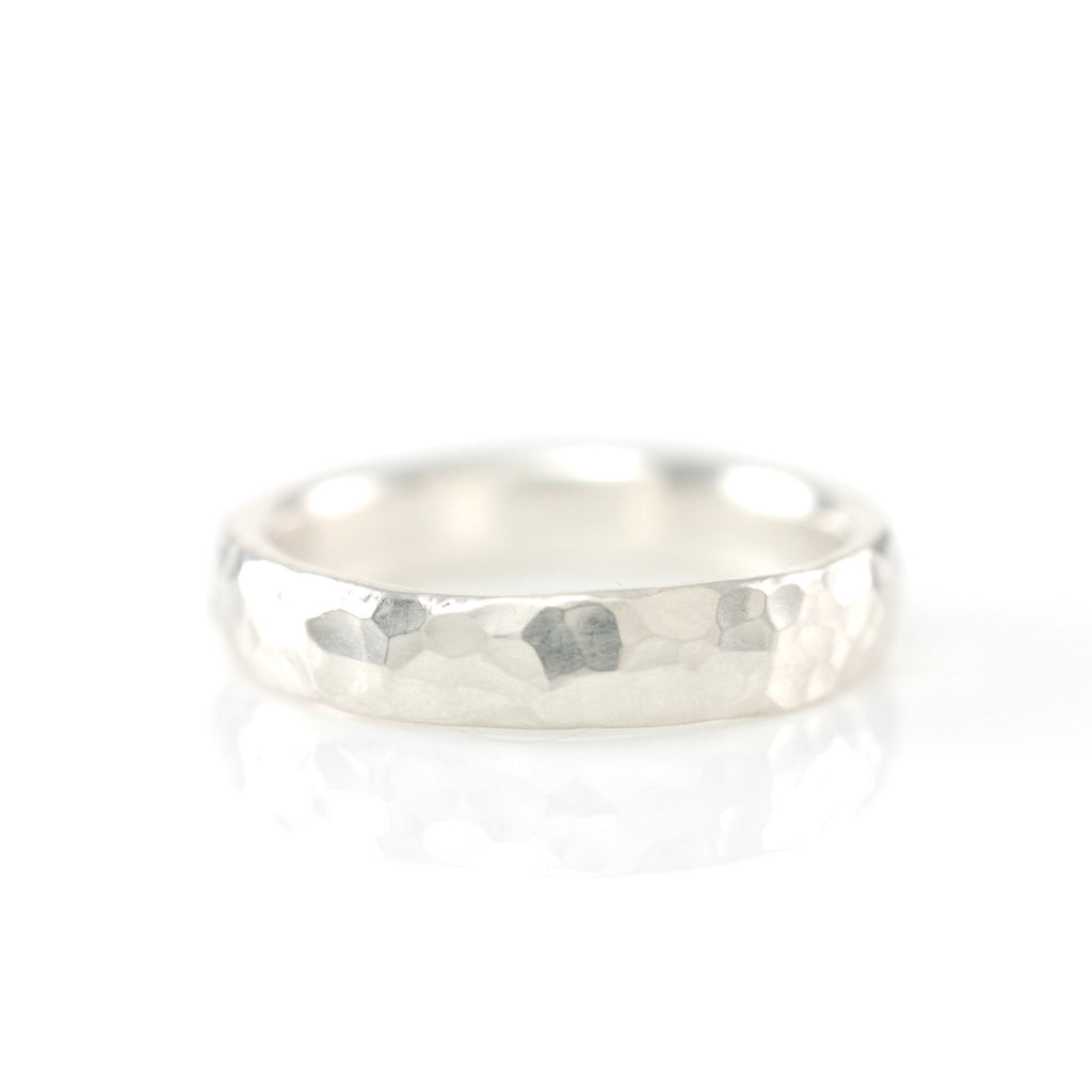 Hammered Ring in Sterling Silver - Size 6 3/4 - Ready to Ship