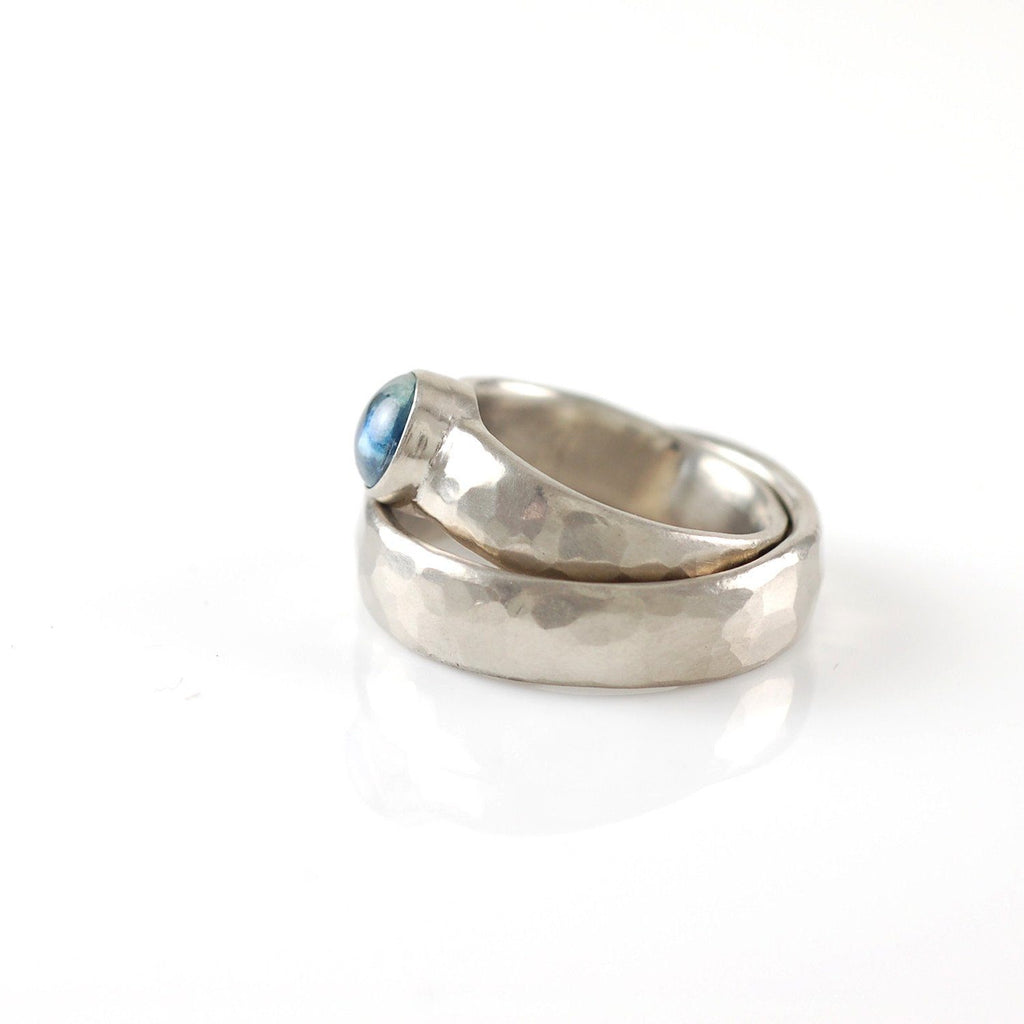 Custom Order Palladium/Silver Hammered Ring with Sapphire - Beth Cyr Handmade Jewelry