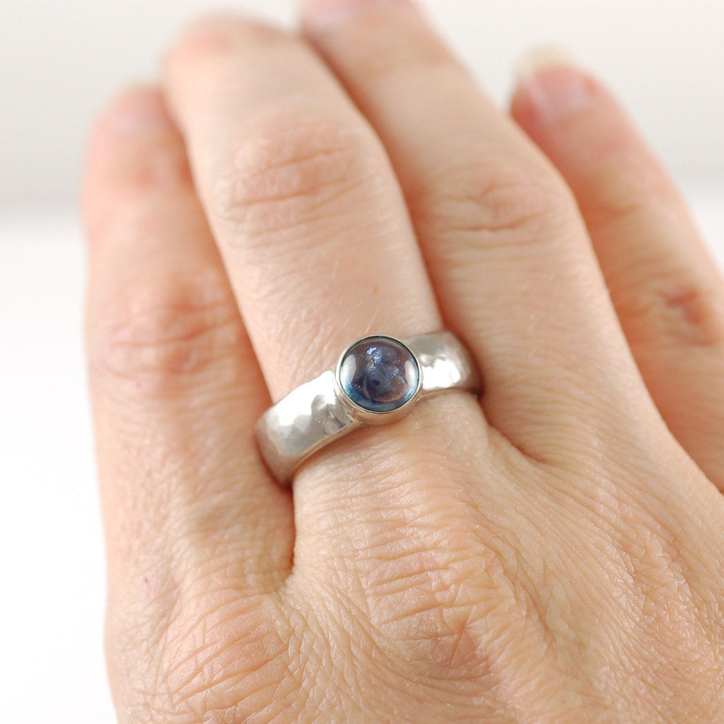 Custom Order Palladium/Silver Hammered Ring with Sapphire