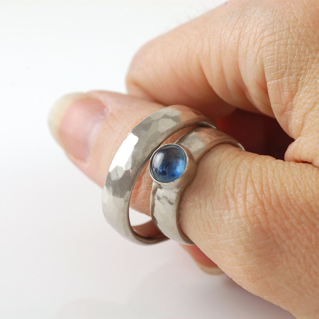 Custom Order Palladium/Silver Hammered Ring - Beth Cyr Handmade Jewelry