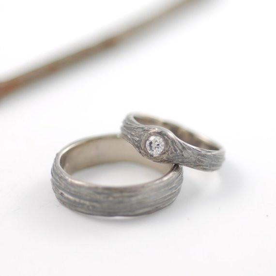 Tree Bark Love Knot Engagement Rings, 4mm wide in Palladium White Gold - Made to Order - Beth Cyr Handmade Jewelry