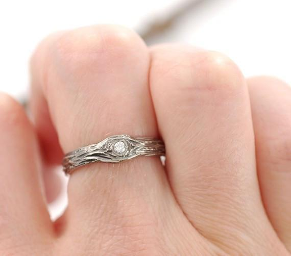 Reserved - Final Payment Tree Bark Love Knot Engagement Rings, 2mm diamond, 3mm wide in Palladium White Gold - Made to Order - Beth Cyr Handmade Jewelry
