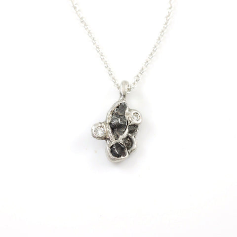 Supercluster Meteorite Pendant with Rough Diamonds and Moissanite in Sterling Silver #20 - Ready to Ship - Beth Cyr Handmade Jewelry