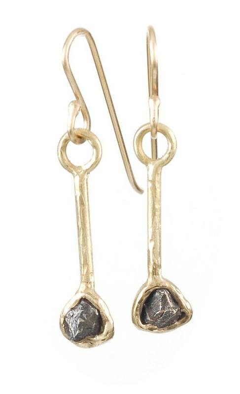 Meteorite Earrings in 14k Yellow Gold - Size Medium - Ready to ship - Beth Cyr Handmade Jewelry