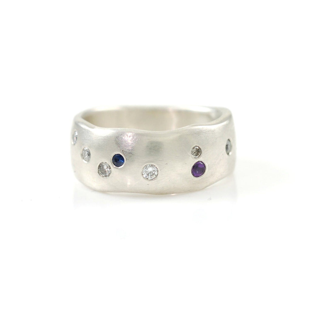 Simplicity Ring with Scattered Diamonds, Sapphire and Amethyst in Palladium Sterling Silver - size 6 - Ready to Ship - Beth Cyr Handmade Jewelry