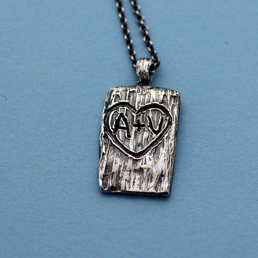 Tree Bark of Love Pendant - Carved Initials in Sterling Silver - Custom Order - Beth Cyr Handmade Jewelry