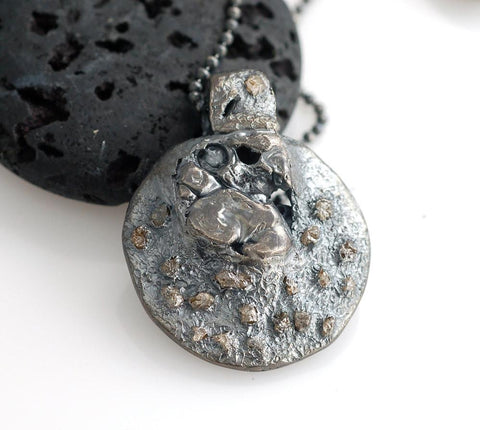 Lunar Landscape Pendant in Sterling Silver with Rough Diamonds - Ready to Ship - Beth Cyr Handmade Jewelry