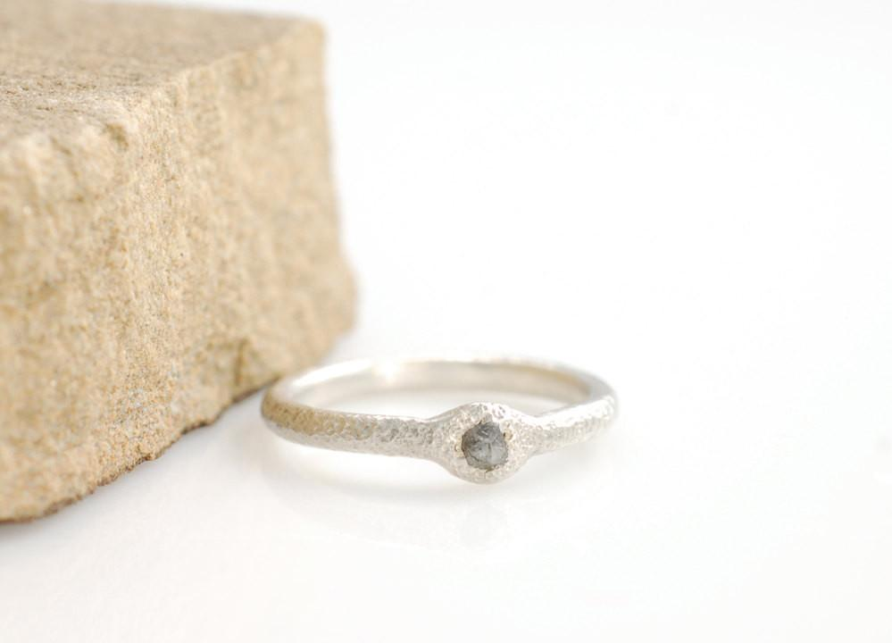 Sands of Time Rough Diamond Engagement Ring in Palladium Sterling Silver - size 5.5 - Ready to Ship - Beth Cyr Handmade Jewelry